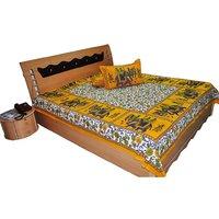 Jaipuri Print Double Bed Sheet Pillow Covers Yellow Bedsheet