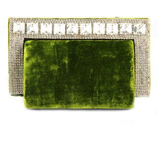 Favola Crystal Border Venvet Hard Shape Box Clutch Bag