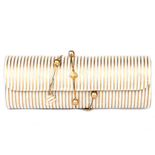 Favola Dholak Style Silk Brocade Gold And Beige Vertical Line Design Clutch Bag