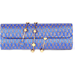 Favola Dholak Style Silk Brocade Blue And Gold Drop Pattern Clutch Bag