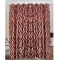 Z Decor Maroon Lehar Curtain ( Set Of 2 ) - 9Ft