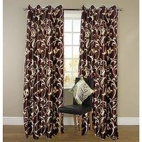 Z Decor Brown Flower Curtain - 9Ft