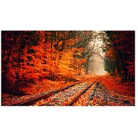 Train Track In The Forest Vinyl Home Decor PVC Wall Sticker ( 91 Cms X 61 Cms)