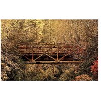 Train Bridge In The Forest Vinyl Home Decor PVC Wall Sticker ( 91 Cms X 61 Cms)