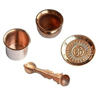 only4you Copper Puja Items - Combo Of 4 Pieces (Kalash/Lota, Panchpatra, Puja Thali, Spoon) 10x1x10 cm