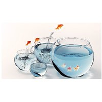 Fish In The Glass Pot Vinyl Home Decor PVC Wall Sticker ( 91 Cms X 61 Cms)
