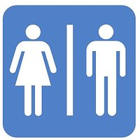 Toilet Male/Female Restroom  Vinyl Home Decor PVC Wall Sticker ( PVC Plastic Sticker , 15 Cm X 15 Cm)