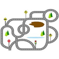 Floor Car Racing Track Vinyl Home Decor PVC Wall Sticker ( PVC Plastic Sticker , 91 Cm X 61 Cm)