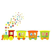 Cartoon Train Vinyl Home Decor PVC Wall Sticker ( PVC Plastic Sticker , 91 Cm X 61 Cm)