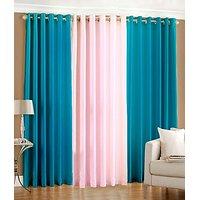 Z Decor Plain Eyelet Curtain 5 Feet ( Set Of 3 ) Aqua & Babypink