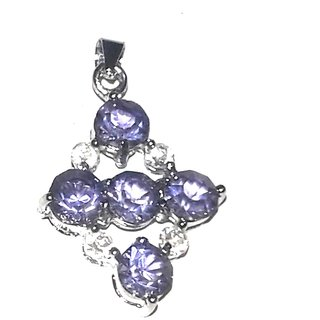 purple with white german silver pendant
