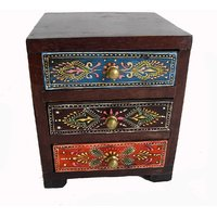Wooden Hand Made Hand Painted 3 Drawer Box #1864
