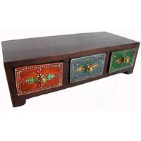 Wooden Hand Made Hand Painted 3 Drawer Box #1865