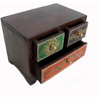 Wooden Hand Made Hand Painted 3 Drawer Box #1867