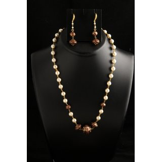 Soojewelish Pearl Work Necklace Set With Meenakari Work-(vgnl 1581)