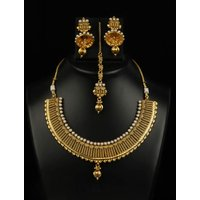 Soojewelish Stone Studded Necklace Set With Gold Finish In Elegent Look-(vgnl 2465)