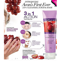 Avon Naturals 3-in-1 Grape Seed Whitening Cleanser Scrub And Mask 100g