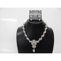 Soojewelish Fashionable American Diamond Studded Necklace Set-(vgnl 2927)