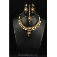 Soojewelish Attractive Indian Traditional Kundan Polki Jewellery Set With Maroon Pearls-(vgnl 3085)