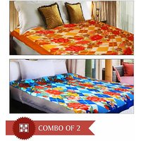 Combo Pack Of 2 Multi Design & Color Double AC Blanket
