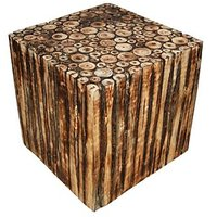 Wooden Square Shape Stool/Chair/Table Made From Natural Wood Blocks