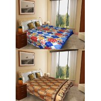 Combo Pack Of 2 Double Bed AC Blanket - Check & Print