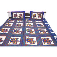 Blue Heavy Design In Double Bed Sheet Cotton