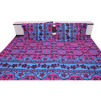 Dark Pink With Blue Design In Double Bed Sheet Cotton