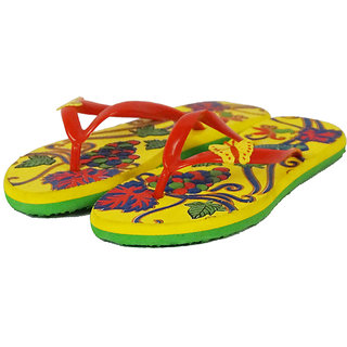 Prisma Yellow & Green Women Slippers