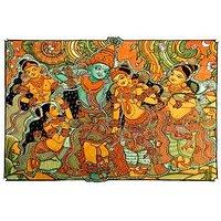Krishna In Vrindavan-Kerala Mural Art Paintings