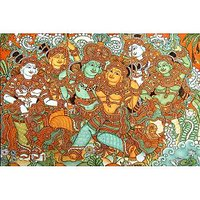 Krishna Krishna And Radha On The Swing-Kerala Mural Art Paintings