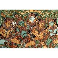 Krishna Playing The Flute-Kerala Mural Art Paintings