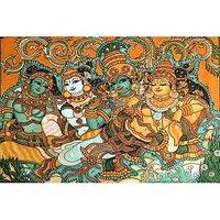 Krishna Wooing Radha-Kerala Mural Art Paintings