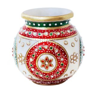 MARBLE FLOWER POT WITH RED AND GREEN MEENA -HPMR14032