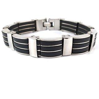 Tri-Stripes Hallmarked Steel & Silicon Bracelet For Men