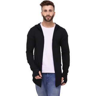 Rigo Black Hooded With Thumbhole open Long Cardigan Full Sleeve Shrug for Men