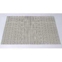 High Quality Basket Weave / Gripper Table Mats Set Of 6 Pcs - Cream / Blk Stripe