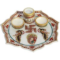 FLOWER SHAPED MARBLE POOJA THALI WITH GANESHA MOTIF-HPMR14044