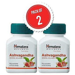 Himalaya Ashva gandha (Pack of 2) General Wellness Tablets - 60 Tablets each
