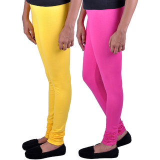 Womens Trendz Pack of 2 Dark Pink Yellow Leggings