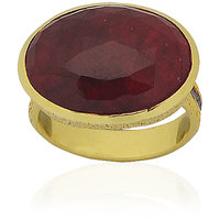 Irene Corrundum Ruby 18K Gold Plated Silver Ring For Women