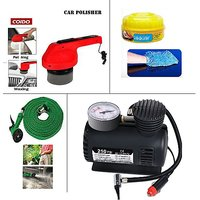 Combo Of Car Cleaning +Water Spray Gun+Air Compressor+Car Polisher+2 Other Acces