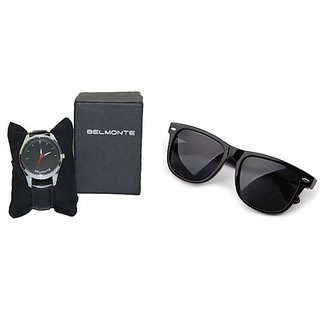 Combo Of Belmonte Watch And Black Mens Wayfarer(FREE SHIPPING)