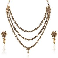 Firstloot Wonderful Polki Necklace Set In Golden Color - Pos377