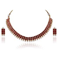 Firstloot Desirable Polki Necklace Set In Red And White Colour - Pos363