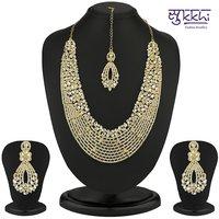 Sukkhi Dazzling Gold Plated Australian Diamond Necklace Set