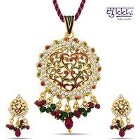 Sukkhi Exquisite Gold Plated Australian Diamond Pendant Set