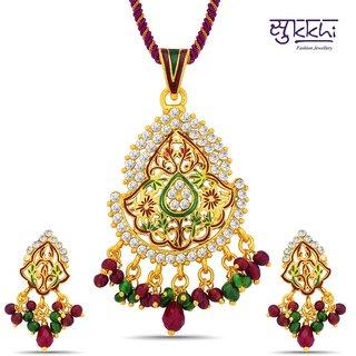 Sukkhi Shimmering Gold Plated Australian Diamond Pendant Set