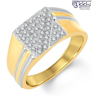 Sukkhi Beguiling Gold And Rhodium Plated Cubic Zirconia Ring For Men