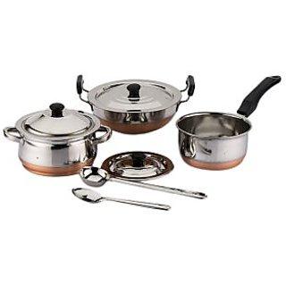 Mahavir 8Pc Copper Bottom Cookware Set